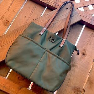 ROOTS 73 army green nylon/leather bag/purse